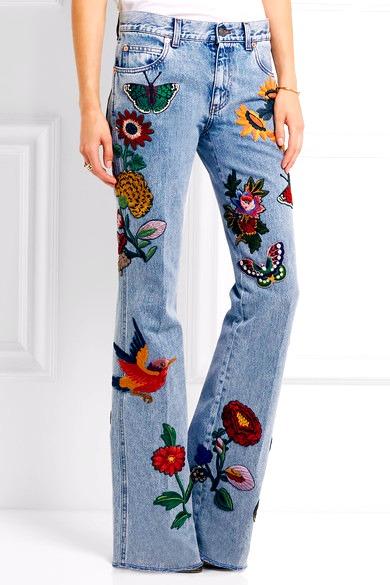Гуччи джинсы с вышивкой 35